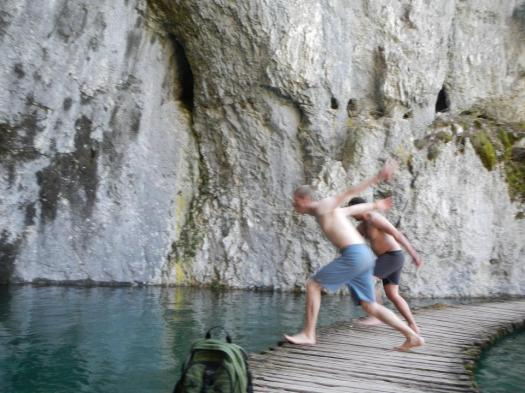Swimming in the Plitvice Lakes, Croatia